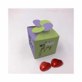 Caixa Floral - Personalizada com 20 Mini Coração de Leite