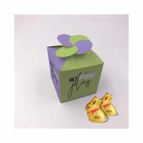 Boite Florale - Personnalisée avec 4 Mini Lapin ou 5 Mini Lapin