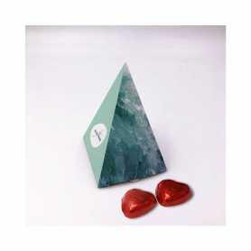 Boite Pyramide - Personnalisée avec 20 Mini Coeur Lait