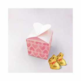 Caja Corazón - Personalizada con 4 Mini Conejos o 5 Mini Conejos
