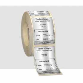 Etiquettes 1 couleur Polyester Alu brillant Pelliculage brillant
