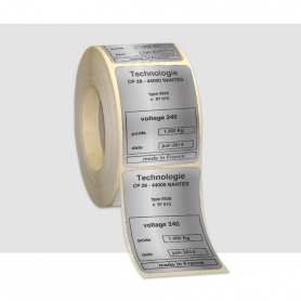Etiquettes 1 couleur Polyester Alu mat Pelliculage brillant