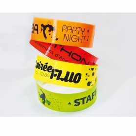Bracelets fluos Impression noire