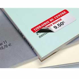 Etiquettes rectificatives papier couché fond grisé