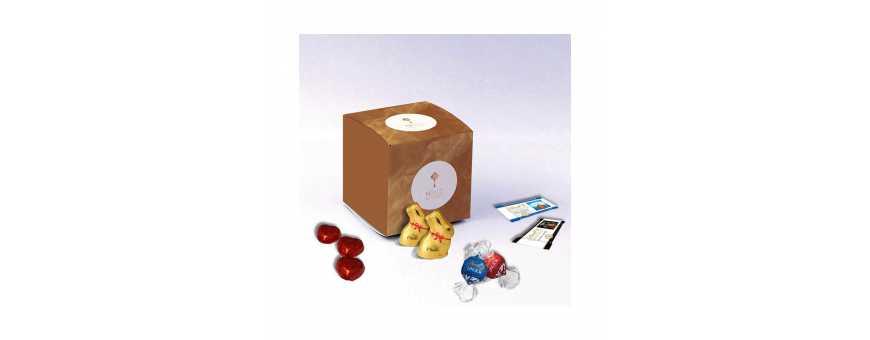 Boite Cube - Personnalisée avec chocolats Lindt