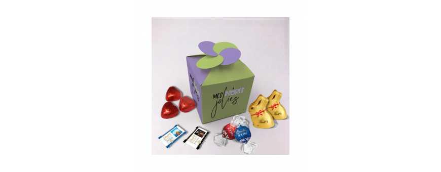 Caja floral personalizada con bombones Lindt
