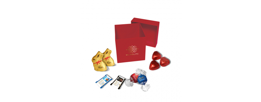 Lyxig fyrkantig låda - anpassad med Lindt-choklad