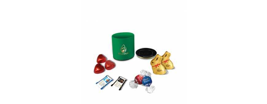 Caja redonda de lujo: personalizada con chocolates Lindt