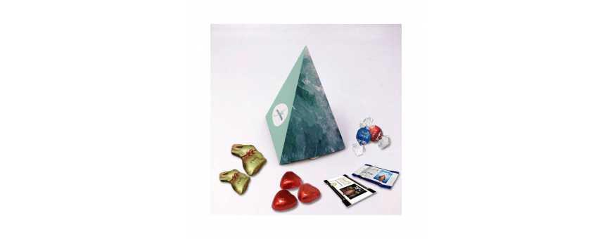 Caja piramidal: personalizada con chocolates Lindt